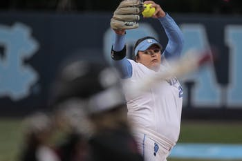Brittany Pickett (28) throws a pitch during Game 3 against NC State on Monday, April 16.