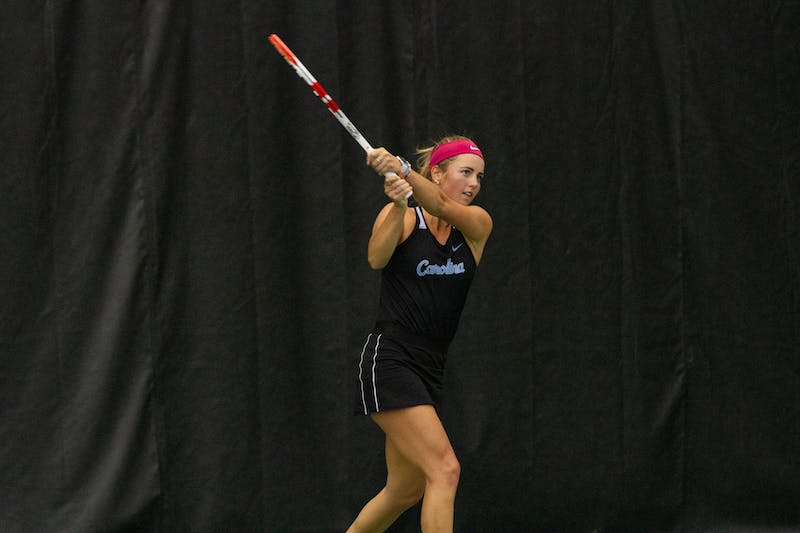 UNC Senior Makenna Jones returns a volley during her singles match against Old Dominion University during the ITA Championship hosted at the Cone-Kenfield Tennis Center in Chapel Hill, NC, on Saturday, January 25th. The Tar Heels went on to win the championship 4-1 against Old Dominion University.