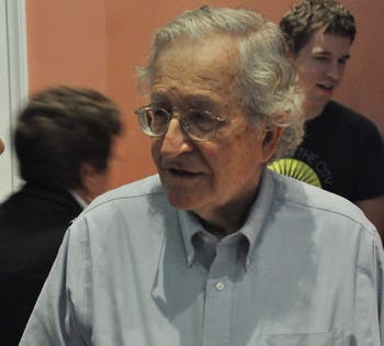 Noam Chomsky answers questions after his presentation Thursday afternoon at Gerrard Hall.  He spoke about environmental ethics.