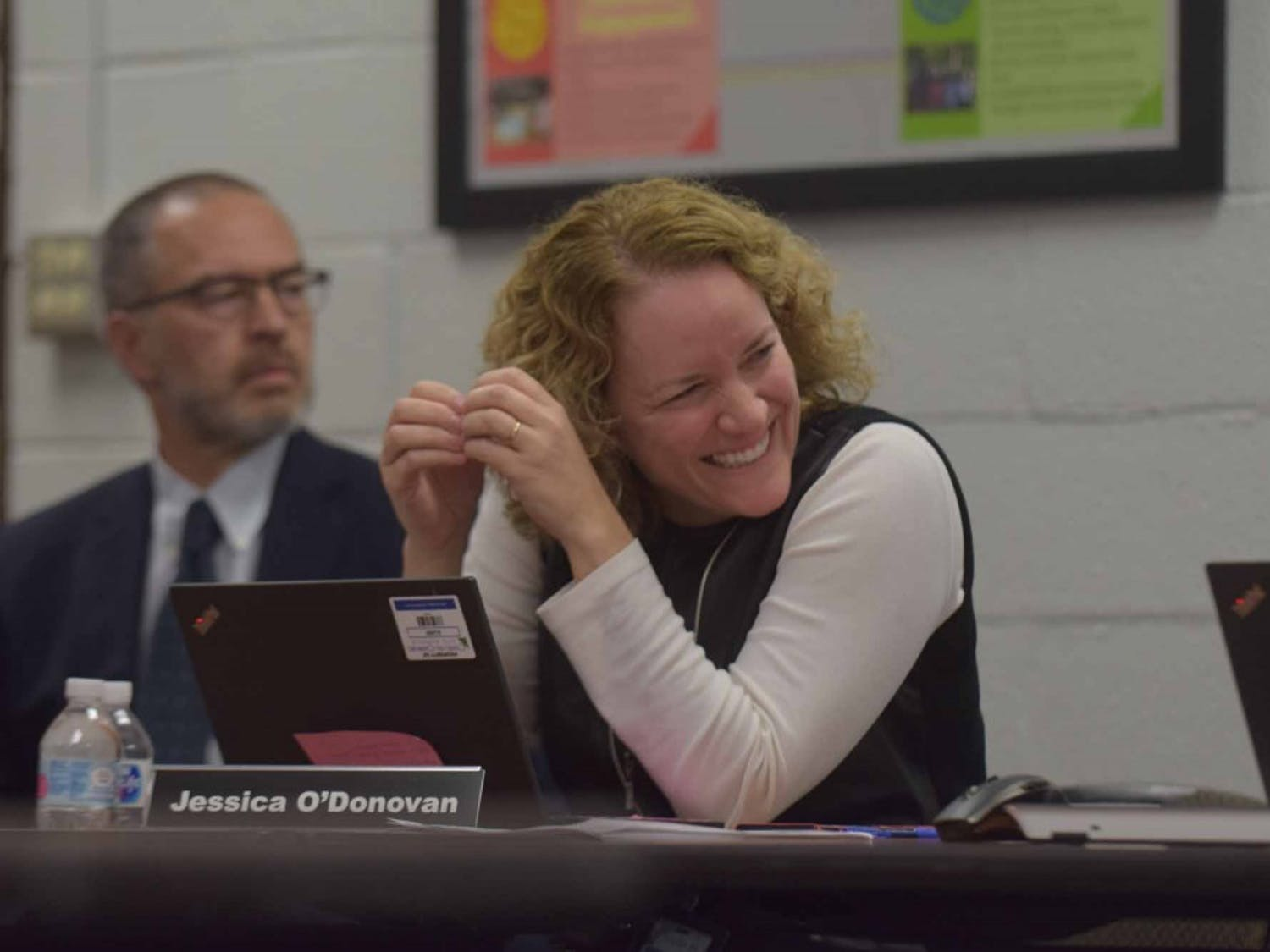 Jessica O'Donovan, assistant superintendent of Chapel Hill-Carrboro City Schools, talks during district meeting on Friday, Feb. 7, 2019 at the Lincoln Center, 750 S. Merritt Mill Rd.