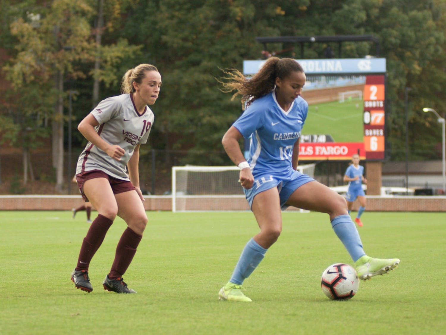 Sophomore forward Rachel Jones (10) creates space between herself and her defender in order to open up the field for new scoring opportunities in the  Heel's ACC regular-season title win against Virginia Tech on Sunday, Oct. 27, 2019.