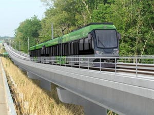 GoTriangle has designed mock-ups for a light rail between Durham and Chapel Hill paralleling 15-501. Graphic courtesy of GoTriangle.