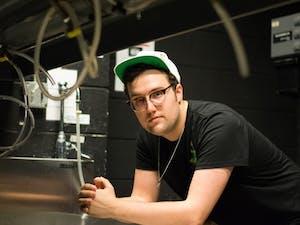 Jubal Strube, a senior studio art major, spends much of his timein the Hanes Art Center darkroom.