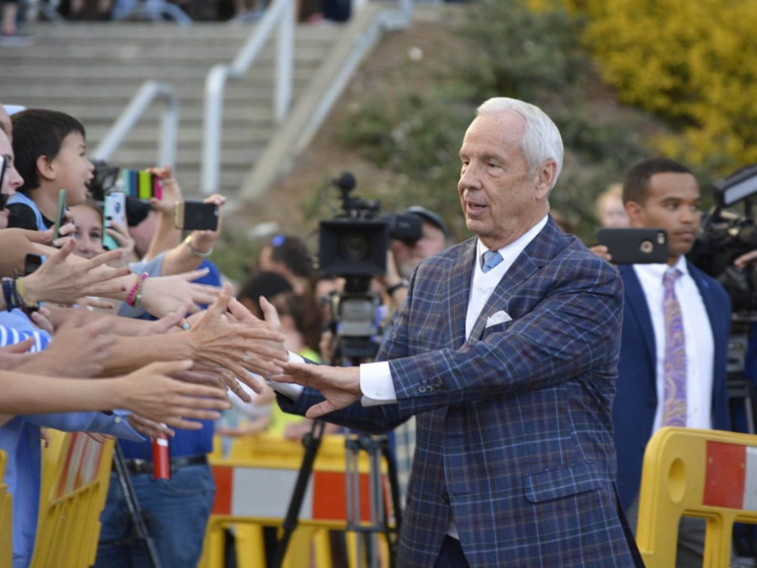Coach Roy Williams greets fans at the UNC Men's Basketball send-off for the Final Four in Phoenix. The event was held at the Dean Smith Center on Tuesday afternoon, March 28, 2017.