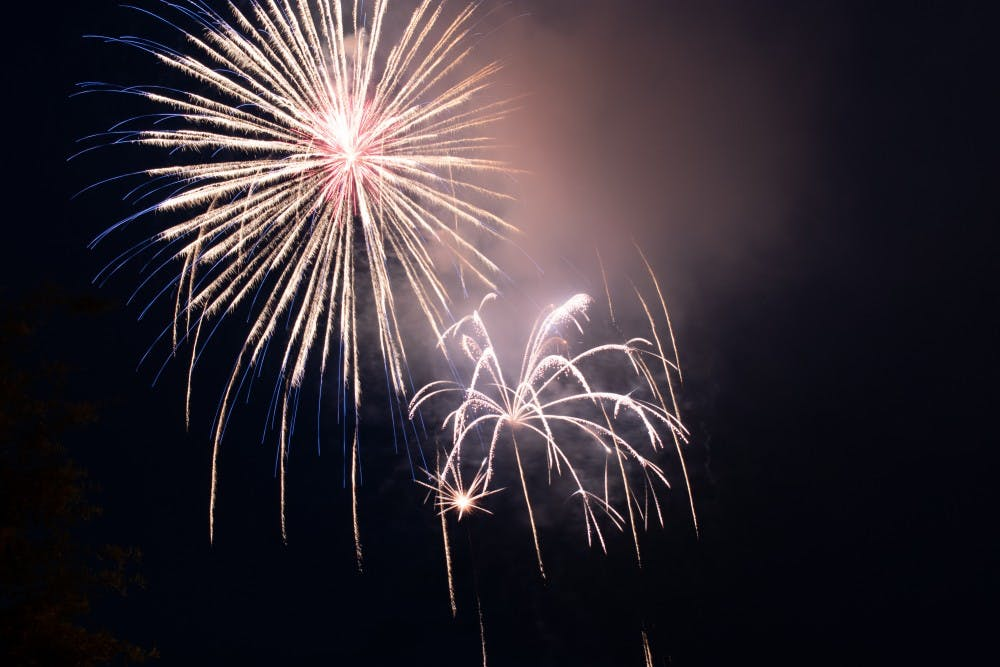 <p>Fireworks lit up the early evening sky at the 2019 Town of Chapel Hill's Fourth of July celebration hosted at Southern Village.&nbsp;</p>