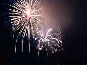 Fireworks lit up the early evening sky at the 2019 Town of Chapel Hill's Fourth of July celebration hosted at Southern Village.