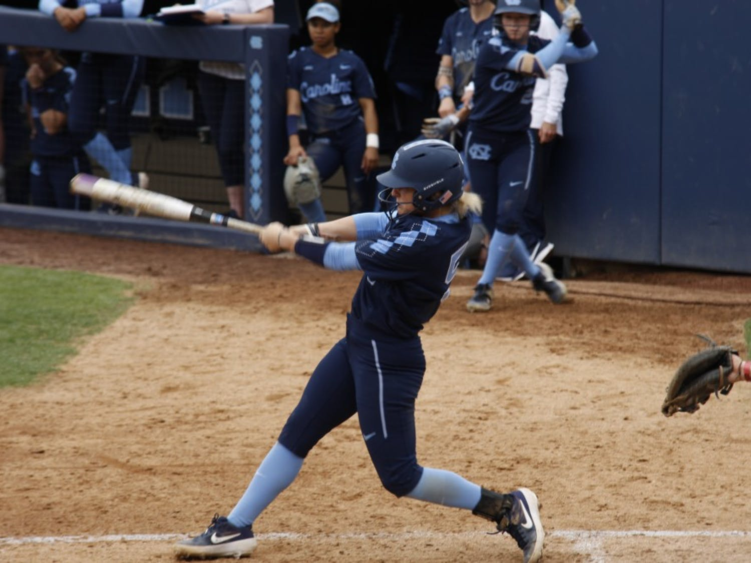 Junior first baseman Campbell Hutcherson (5) crushing the ball during UNC's win against Virginia on Saturday, Apr. 6, 2019.