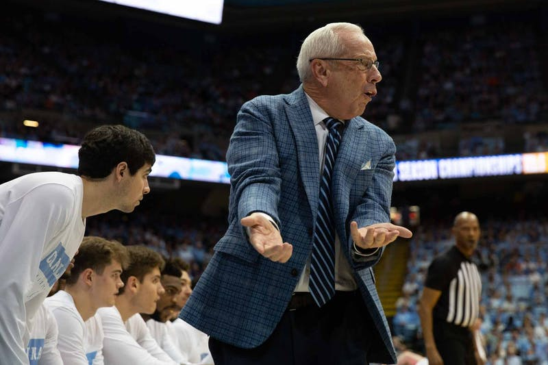 Head Coach Roy Williams yells during  the game against Clemson in the Dean Smith Center on on Saturday Jan. 11, 2020.  UNC lost to Clemson 79-76, ending the Tigers 0-59 losing streak in Chapel Hill.