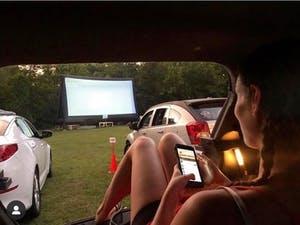 A drive-in film showing at Food Truck Flix. Photo courtesy of Madison Mundy.