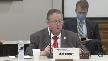 Board of Governors chairperson Randy Ramsey during an emergency Board meeting on Friday, June 19, 2020, during which Peter Hans was elected to be the new UNC System president.
