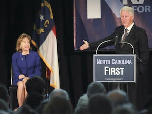 Former President Bill Clinton offered support to Sen. Kay Hagan at an early voting event held at Broughton High School on Friday, October 31.