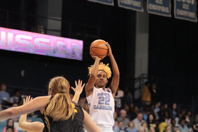 UNC guard Paris Kea (22) pulls up for a shot while playing Appalachian State in Carmichael Arena on Sunday night