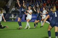 UNC women's soccer senior defender Julia Ashley (16) celebrates after scoring a game-winning goal in the 108th minute of the College Cup semifinals against Georgetown. The game was played on Nov. 30, 2018 at Sahlen's Stadium at WakeMed Soccer Park in Cary.