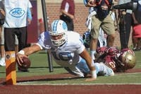 Former UNC quarterback Mitch Trubisky dives for the end zone against Florida State in 2016.