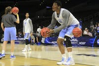 Sophomore forward Kennedy Meeks practices in Los Angeles ahead of the team's Sweet 16 game against Wisconsin on Thursday night.