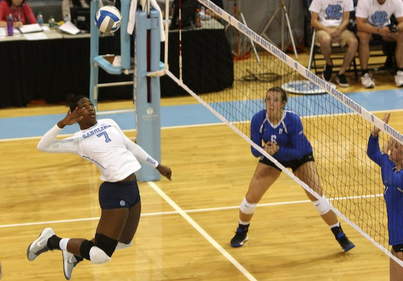 The UNC volleyball team dominated over the Duke Blue Devils winning three sets to zero on Friday evening.