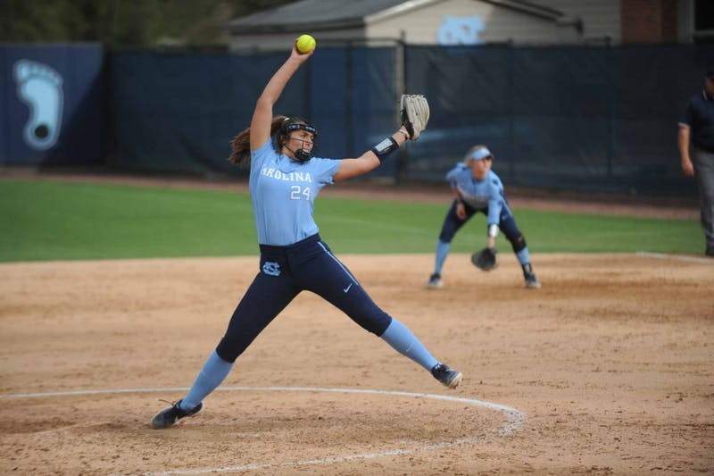 Junior Hannah Nommensen (24) pitches during the game against Costal Carolina University on Tuesday, April 9, 2019 at the Anderson Softball Stadium. UNC won 9-0 against Costal Carolina University.
