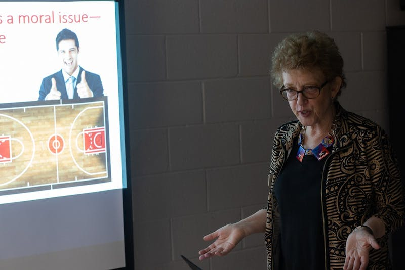 Jennifer Bremer delivers a presentation on gerrymandering to inform attendees at the Gerrymander Bash. The League of Women Voters of North Carolina held the Gerrymander Bash to inform children and young voters about gerrymandering in local districts on Saturday, Nov. 17, 2019 at the Chapel Hill Community Center on 120 S Estes Dr.