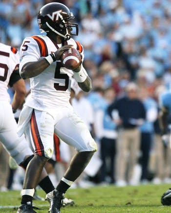 Virginia Tech senior quarterback Tyrod Taylor takes his time in the pocket during the Saturday game against the Tar Heels.