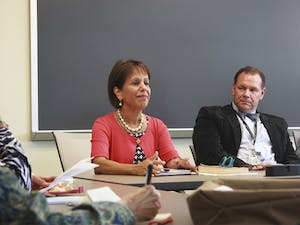 Chancellor Carol Folt spoke with faculty Monday afternoon in the Steele Building. Among the topics discussed were Title 9, Board of Governors, and the recent passing of Professor Feng Liu.