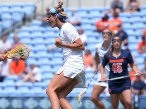 Katie Hoeg celebrates during the ACC Tournament Championship against Syracuse at Dorrance Field on Sunday, May 2, 2021. Photo courtesy of Jeff Camarati.