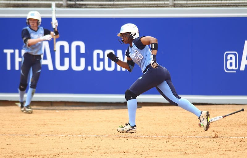 Senior Aquilla Mateen runs to first base in the ACC Softball Tournament held in Raleigh on Thursday