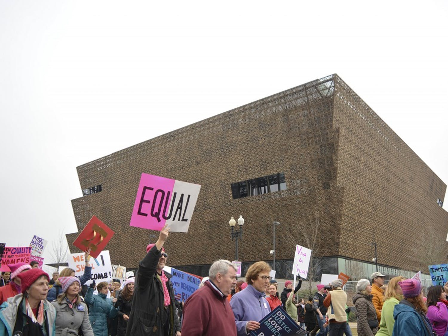 """""""Equal"""" sign in front of the recently-finished African American History/Culture museum"""