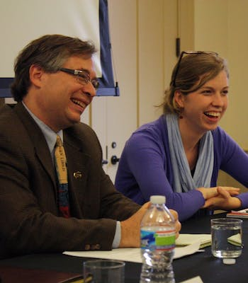 Before the panel on civil discourse begins, Andrew Perrin, a UNC associate professor of Sociology, and Elizabeth McCain, a junior history major and co-chair of Campus Y and moderator of the program, talk. The discussion is part of a series leading up to March 16. Next Tuesday's panel will be on religious pluralism. During his talk, Perrin mentioned the idea that cable TV has caused Americans to have less exposure to opposing political viewpoints save for caricatures.
