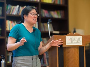 UNC assistant professor Heidi Kim shares her research on literature during the Cold War at Flyleaf Books on Tuesday, June 7th.
