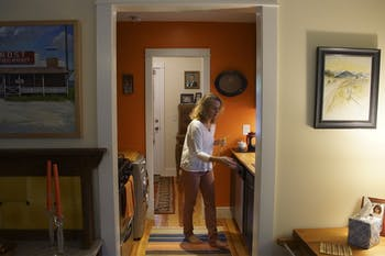 View of the kitchen and back door from inside Bethany Chaney's small Carrboro home