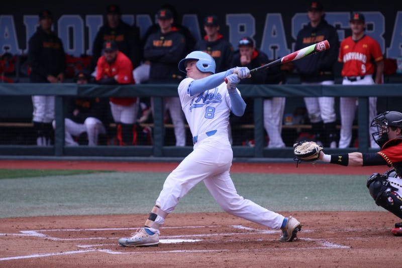 Sophomore Ike Freeman (8) follows through on a swing against Maryland on March 20 at Boshamer Stadium.