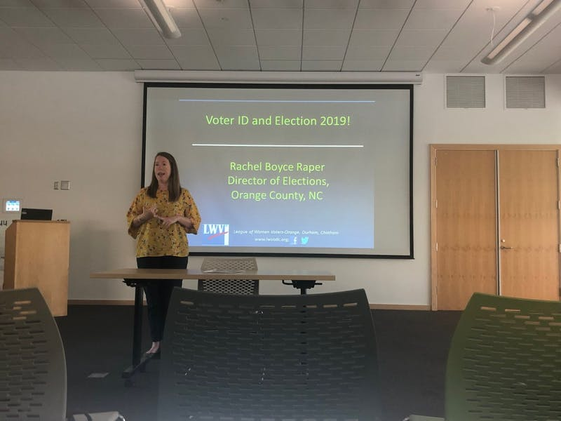 Rachel Raper, director of the Orange County Board of Elections, gives a presentation at the Chapel Hill Public Library on April 24 to educate county residents about the new voter ID law.