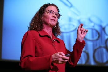Victoria Hale, a pharmaceutical scientist and global health entrepreneur, speaks at the TEdxUNC conference on Saturday, Jan 21.