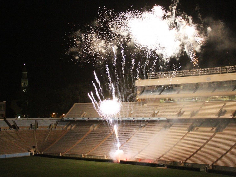 2012 Fourth of July fireworks at Kenan Stadium.
