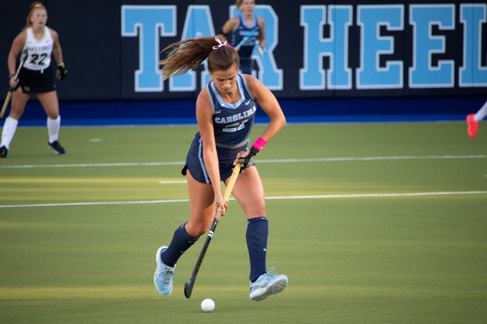 <p>DTH File. Senior midfielder, Eva Smolenaars, at the game against Wake Forest on Friday, Oct. 30, 2020.</p>