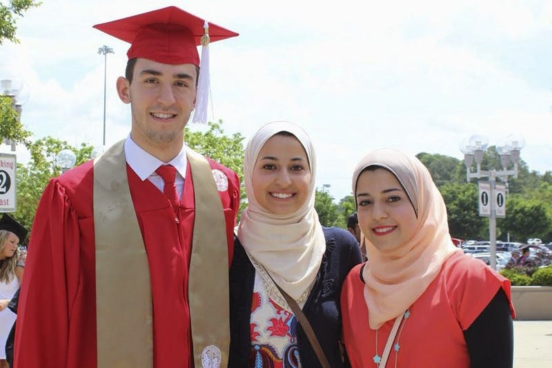 (From left) Deah Barakat, Yusor Mohammad Abu-Salha and Razan Mohammad Abu-Salha lost their lives Feb. 10, 2015. (Courtesy of the Abu-Salha family)