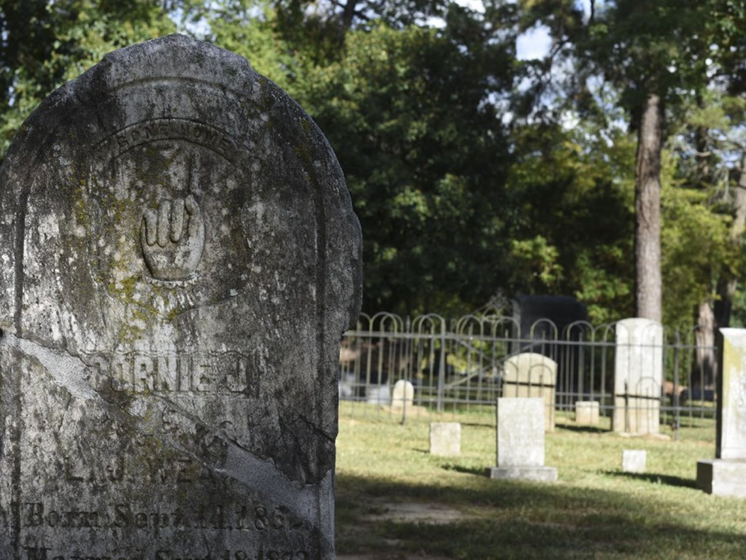 Graves in the Old Chapel Hill Cemetery.