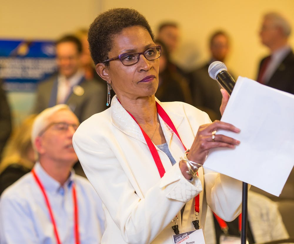 <p>Renee Price, an Orange County Commissioner, speaks at a National Association of Counties Conference. Price was given the M.H. Jack Brock Outstanding County Commissioner Award on Saturday, Aug. 15, 2020. Photo courtesy of the National Association of Counties.</p>