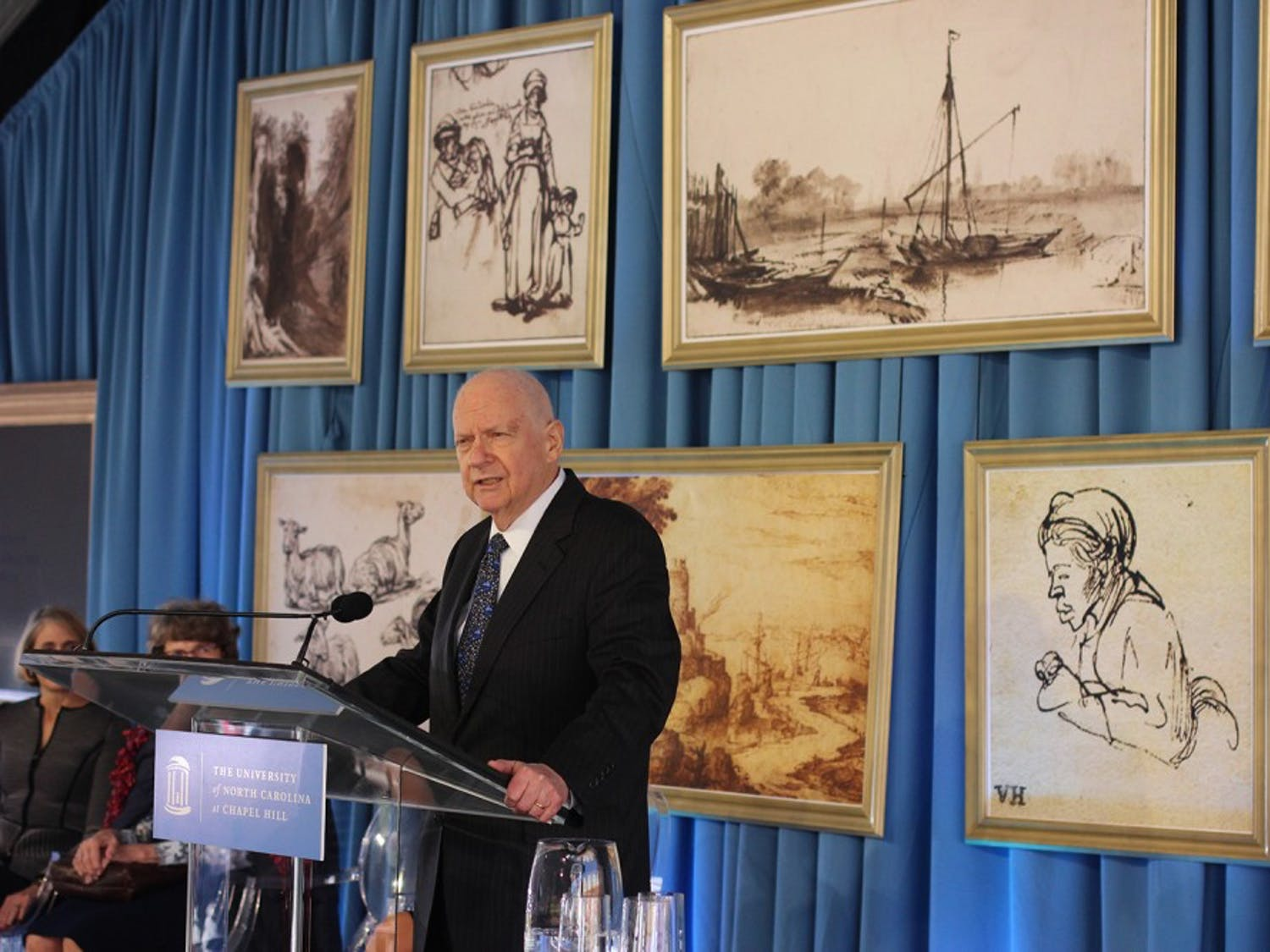 Sheldon Peck speaks at the donation announcement of various pieces of artwork to the Ackland Art Museum. Peck and his wife were the donors of the the collection, valued at $25 million and containing some of Rembrandt's most famous pieces.