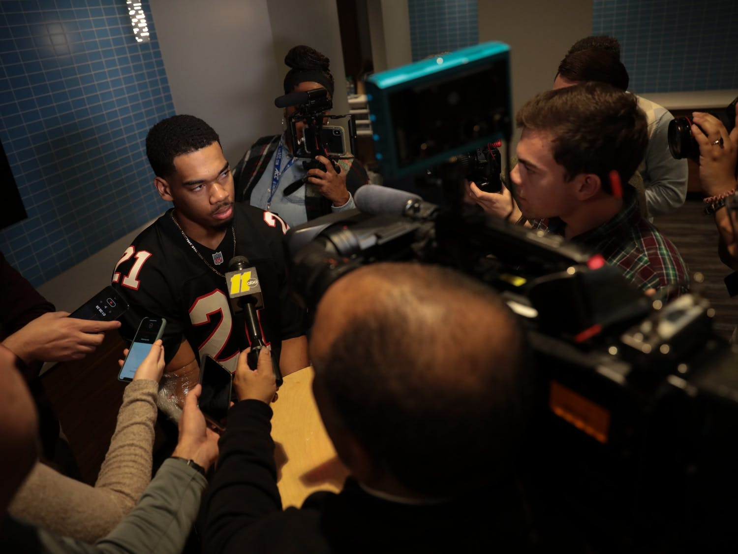 UNC junior forward Garrison Brooks fields questions from members of the media following a game against Pitt in the Smith Center on Wednesday, Jan. 8, 2020. The Tar Heels lost to the Panthers 65-73.