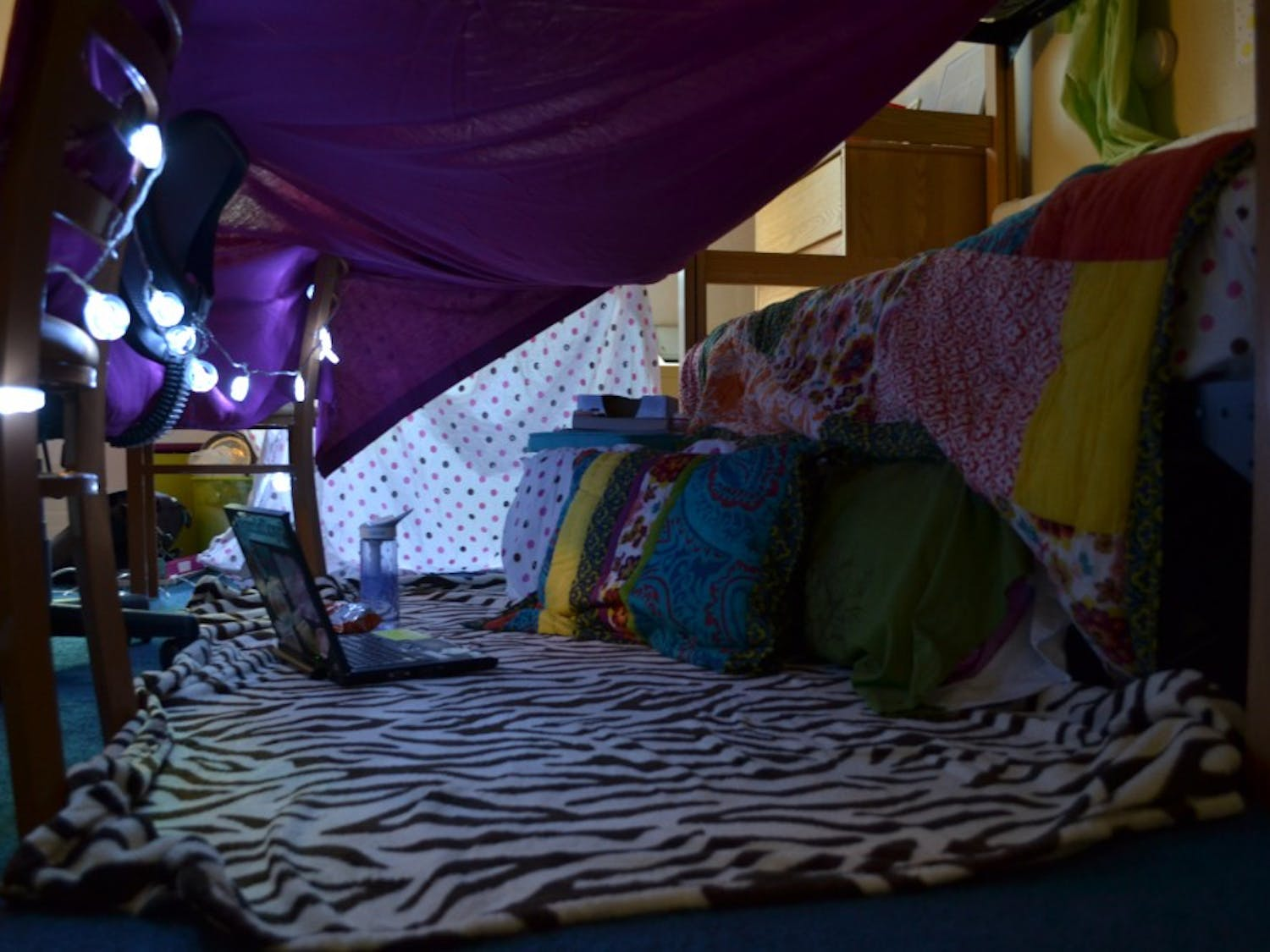 Katie's finished sheet fort in her Ruffin dorm room.