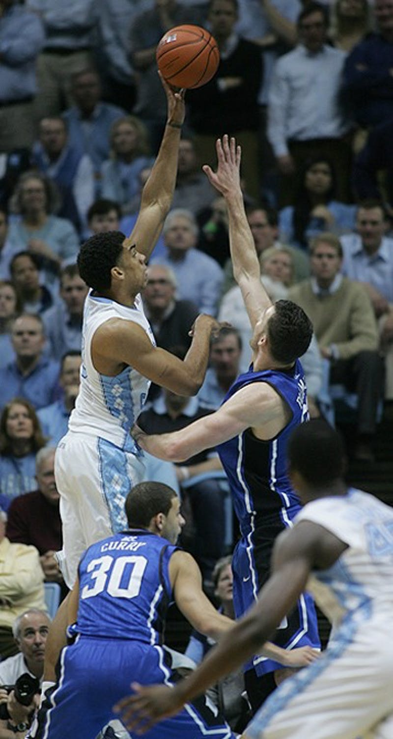 The North Carolina Tar Heels lead the Duke Blue Devils 43-40 at the half during the game at the Dean E. Smith Center on Wednesday, Feb. 8, 2012.
