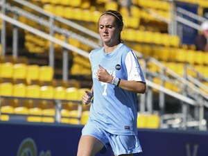 UNC midfielder Annie Kingman (7) warms up before the rest of the women's soccer team takes the field. Kingman had a strong game in the ACC semi-finals on Friday, with one goal and one assist.