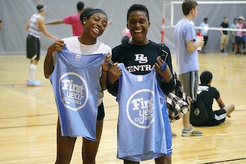 Freshmen Janice Ezenwa and Shawn Hines attended the First Year Experience basketball and volleyball tournament in Rams Head Recreation Center on Friday, Sept. 12, 2014.