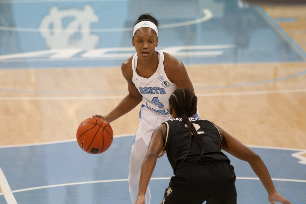 UNC sophomore Guard Kennady Tucker (4) prepares to pass the ball at a game against Wake Forest at Carmichael Arena on Sunday, Dec. 20 2020.