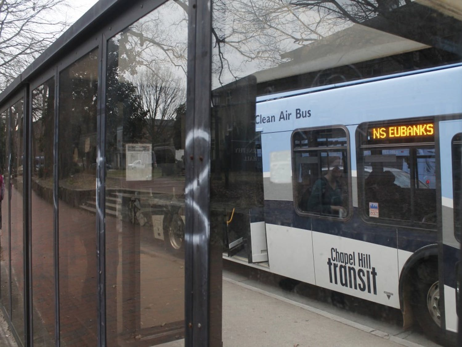 Rust, graffiti and debris plague the bus stop across from Fraternity Court on Tuesday, Jan. 29, 2019. Bus stops all around the town of Chapel Hill have been victims of neglect and signs have begun to show.