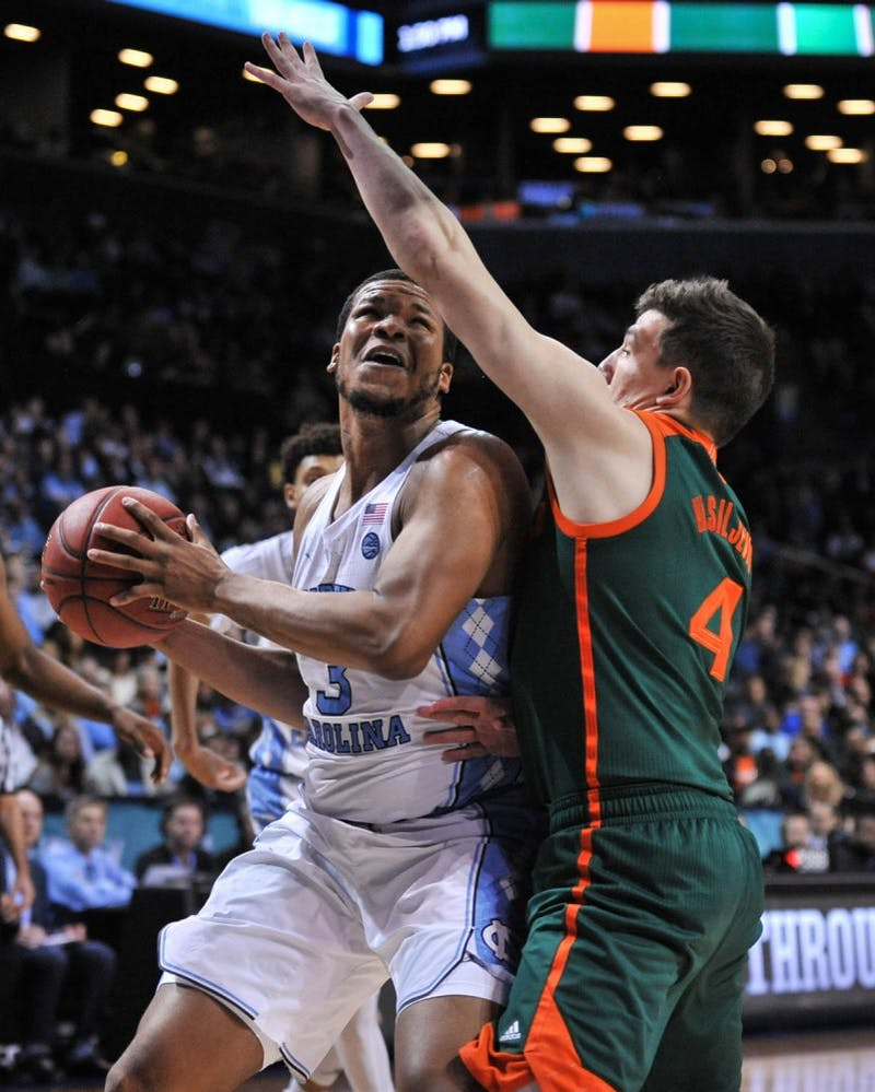 The North Carolina men's basketball team defeated Miami 78-53 in the quarterfinals of the ACC Tournament in Brooklyn on Thursday.