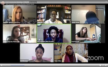 Screenshot from the virtually held Commission on Campus Equality and Student Equity meeting regarding UNC's fall reopening on Thursday, July 16, 2020.