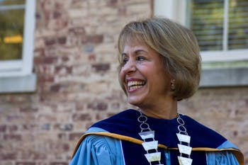 Chancellor Carol Folt smiles as she walks in the University Day procession from South Building to Memorial Hall on October 11, 2016.
