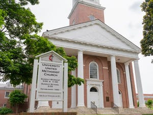 University Methodist Church on Franklin Street, as pictured on Tuesday, May 18th, 2021, had its BLM signs torn down.